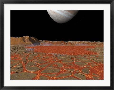 Framed Artist's concept of a view Across a Pool of Lava on the Surface of Lo, Towards Jupiter Print