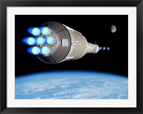 Framed Phobos Mission Rocket Ignites its Chemical Thrusters Print