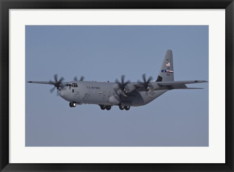 Framed C-130J Super Hercules of the 317th Airlift Group in Flight Over Germany Print