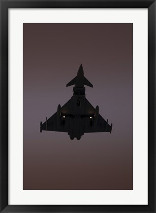 Framed German Air Force Eurofighter Typhoon Approaching at Sunset Print