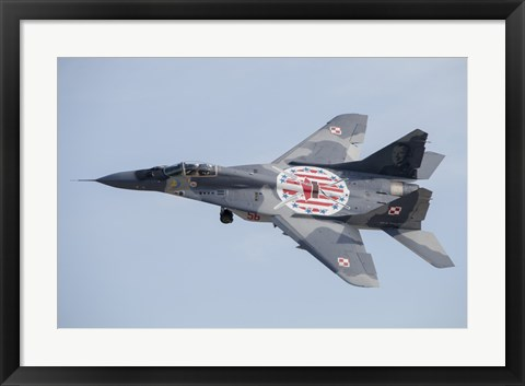 Framed MiG-29 Fulcrum of the Polish Air Force in Flight Print