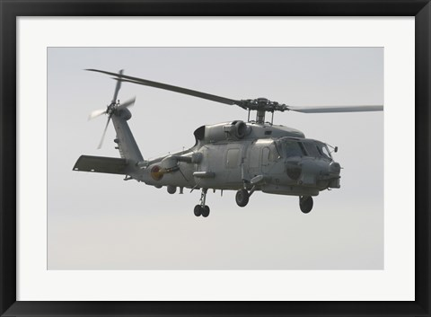 Framed SH-60B Seahawk of the Spanish Navy in Flight Over Rota, Spain Print