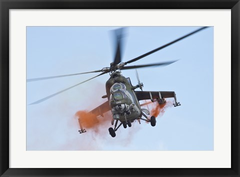 Framed Czech Air Force Mi-35 Hind Helicopter Print
