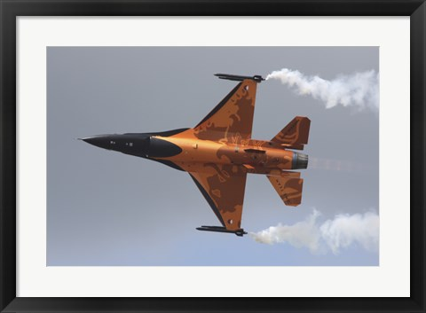 Framed Dutch Air Force F-16A During a Flight Demonstration Print