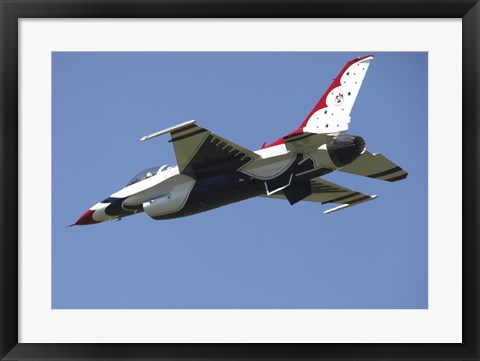 Framed US Air Force F-16 Thunderbird Jet in Flight over Belgium Print