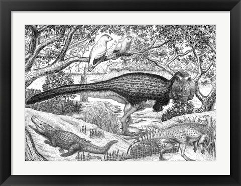 Framed Black ink Drawing of Extinct Animals From the Hell Creek Formation Print