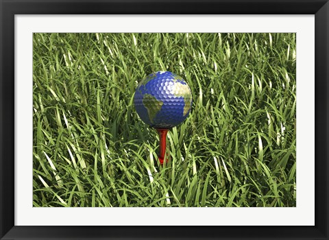 Framed 3D Rendering of an Earth Golf Ball on Tree in the Grass Print