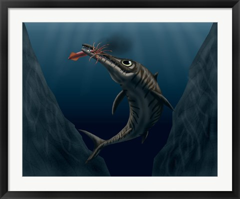 Framed Ophthalmosaurus Catches a Squid in the Deep Sea Print
