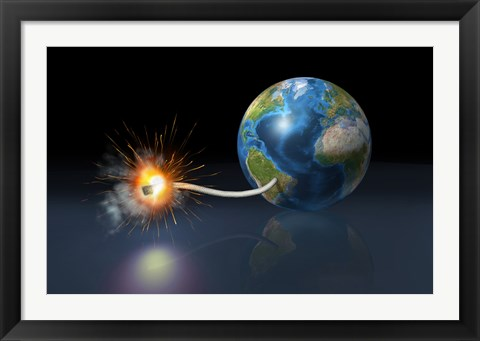 Framed Earth Globe with a Fuse Lighted up as a Time Bomb Print