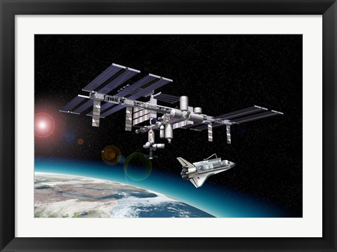 Framed Space Station in Orbit Around Earth with Space Shuttle Print