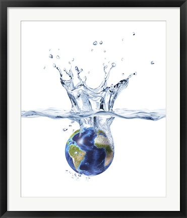 Framed Planet Earth Falling into Clear Water, Forming a Crown Splash Print