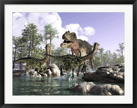 Framed Tyrannosaurus Rex Hunting two Gallimimus Dinosaurs in a River Print