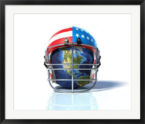 Framed Planet Earth Protected by an American Football Helmet Print