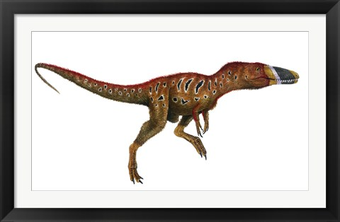 Framed Watercolor Painting of Xiongguanlong Baimoensis Print