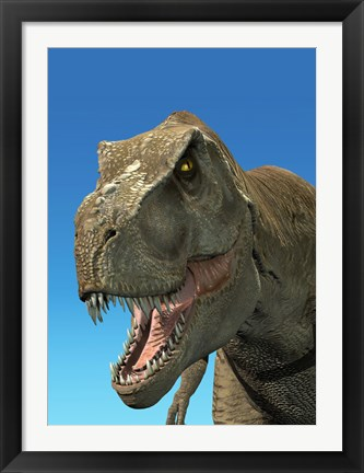 Framed 3D Rendering of Tyrannosaurus Rex, Close-up Print