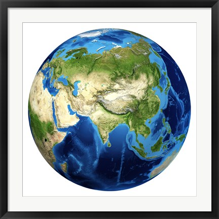 Framed 3D rendering of Planet Earth with Clouds, Centered on Asia Print