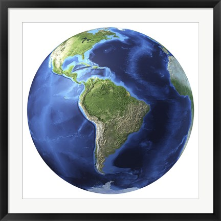 Framed 3D Rendering of Planet Earth, Centered on South America Print