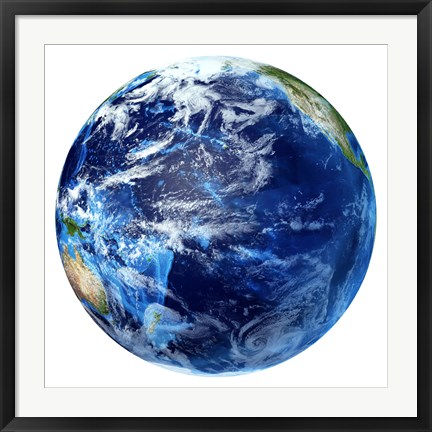 Framed 3D rendering of Planet Earth, Centered on the Pacific Ocean Print