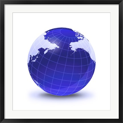 Framed Stylized Earth Globe with Grid, Centered on Pacific Ocean Print