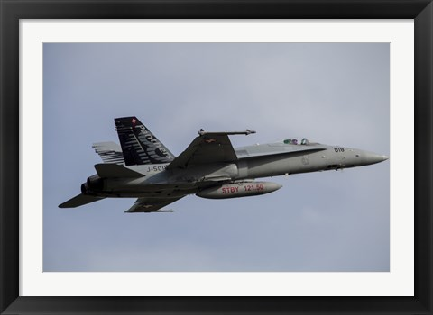 Framed Swiss Air Force F-18C Hornet used for Air Policing Print