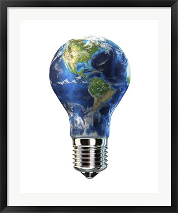 Framed Light bulb with planet Earth inside glass, Americas view Print