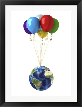 Framed Planet Earth Lifted by a Bunch of Flying Multicolored Balloons Print