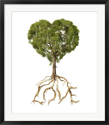 Framed Tree with Foliage in the Shape of a Heart Print