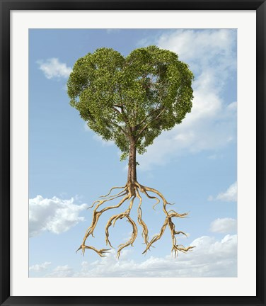 Framed Tree with Foliage in the Shape of a Heart with Roots as Text Love Print