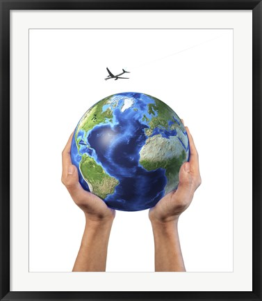 Framed Man's Hands Holding the Planet Earth, with a Jet Aircraft Flying Above Print