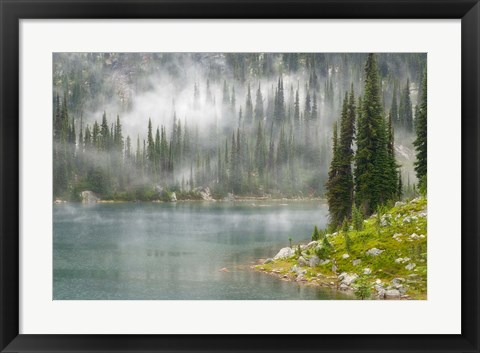 Framed Fog and Rain on Lake Eva, Revelstoke National Park, British Columbia, Canada Print