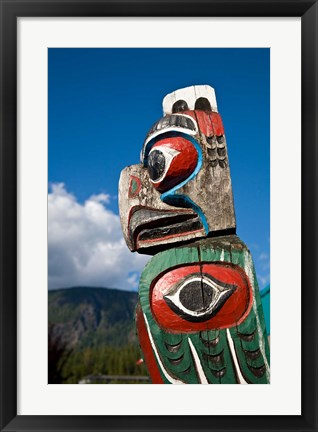 Framed Totem poles, Gold River, Vancouver, British Columbia Print