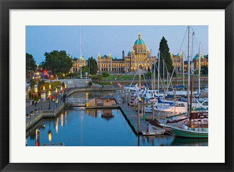 Framed Inner Harbor at Victoria, British Columbia Print