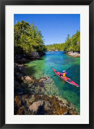 Framed British Columbia, Vancouver Island, Sea kayakers Print