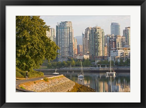 Framed Cyclist on Seawall Trail, Vancouver, British Columbia Print