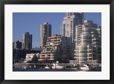 Framed Vancouver Skyline From Granville Island, British Columbia, Canada Print