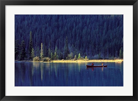 Framed Fishing on Waterfowl Lake, Banff National Park, Canada Print