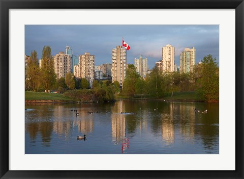 Framed Apartments reflected in Vanier Park Pond, Vancouver, British Columbia, Canada Print