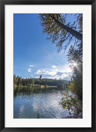 Framed Rope swinging at Champion Lakes Provincial Park, BC, Canada Print