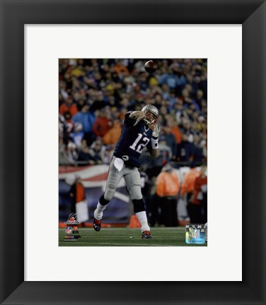 Framed Tom Brady AFC Championship Game Action 2014 Playoffs Print