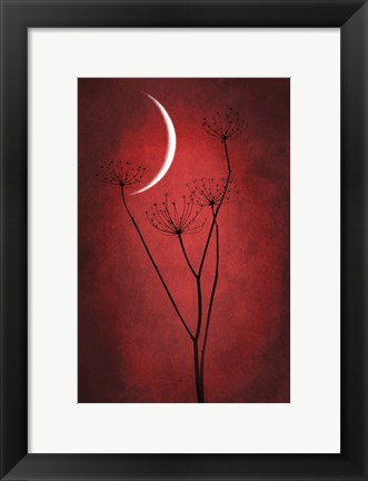 Framed Red Crescent Moon Print