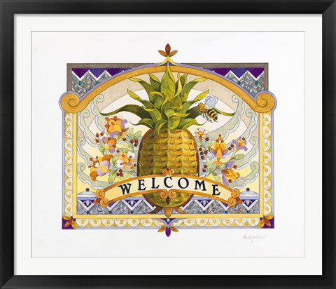 Framed Welcome Pineapple Print