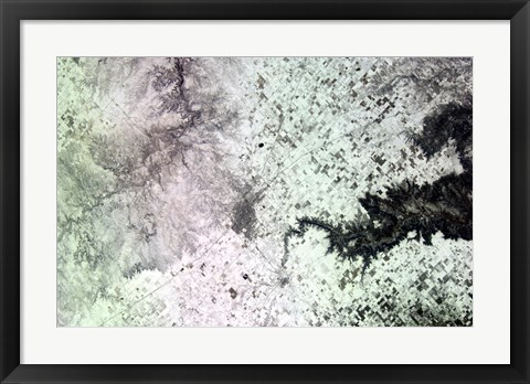 Framed Satellite View of Amarillo, Texas, Covered in Snow Print