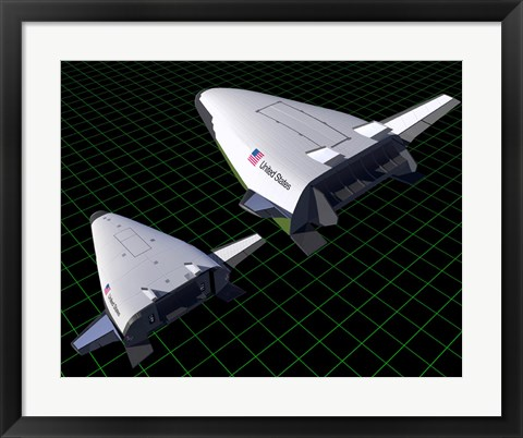 Framed Artist's Concept Showing the Relative Sizes of the X-33 and VentureStar Print