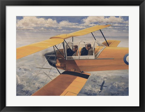 Framed De Havilland DH82 Tiger Moth basic Trainer Biplane from the 1930's Print