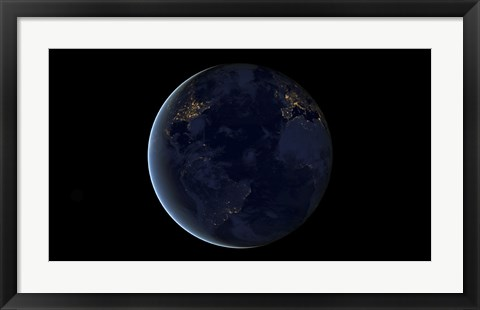 Framed Digital Composite of Earth's City Lights at Night, Centered over the Atlantic Ocean Print