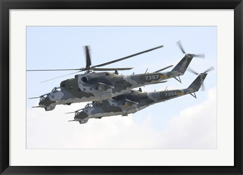 Framed Czech Air Force Mi-24 Hind Helicopters Print