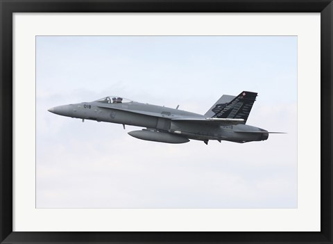 Framed F-18C Hornet of the Swiss Air Force in Flight over Germany Print