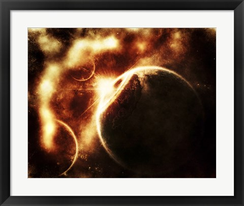 Framed Apocalyptic View of a Solar System Print