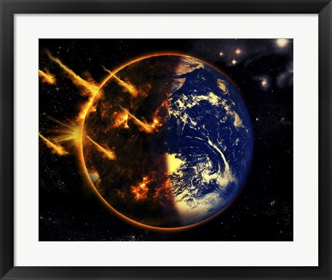 Framed Swarm of Deadly Meteorites Impact Earth on Armageddon Day Print