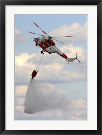 Framed Sokol W-3A Helicopter of the Czech Air Force with a Water Bucket Print